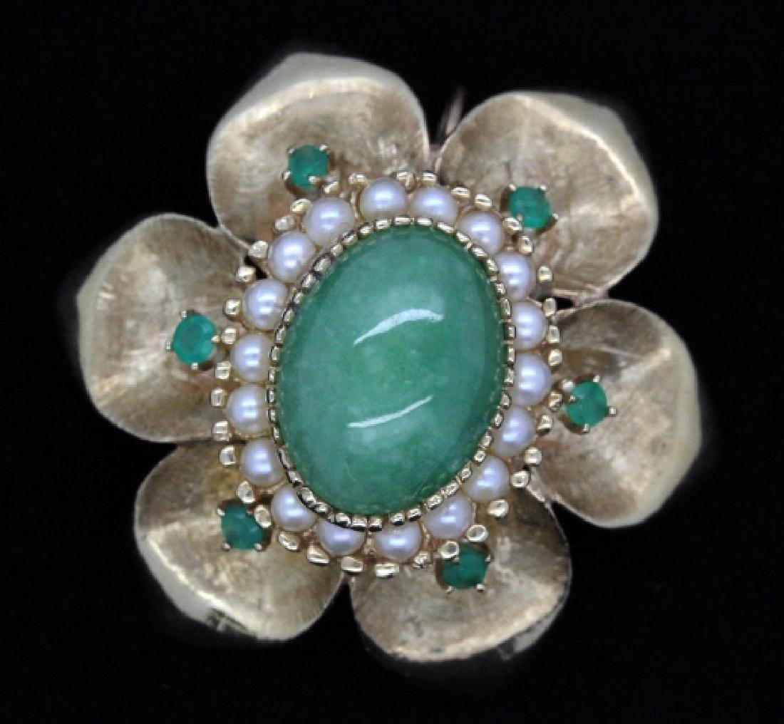 VTG 14k Gold Emerald Jade & Pearl Floral Brooch Pendant - 6
