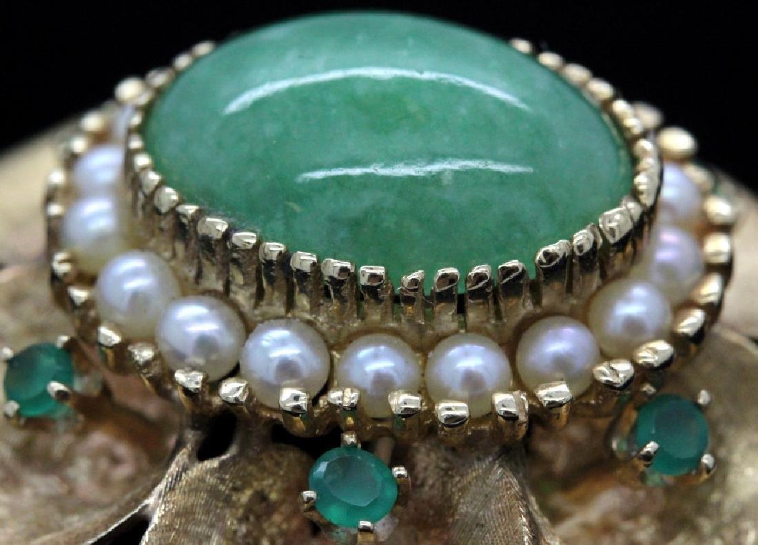 VTG 14k Gold Emerald Jade & Pearl Floral Brooch Pendant - 7