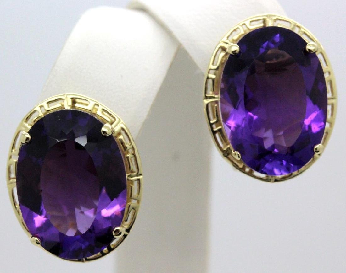 Large 16 Ct TW Deep Purple Amethyst 14k Gold Earrings