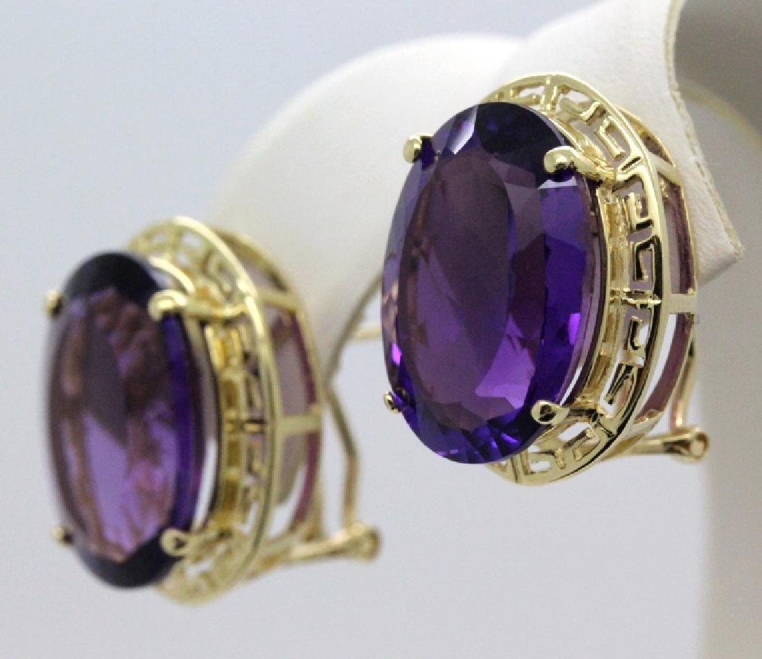 Large 16 Ct TW Deep Purple Amethyst 14k Gold Earrings - 2