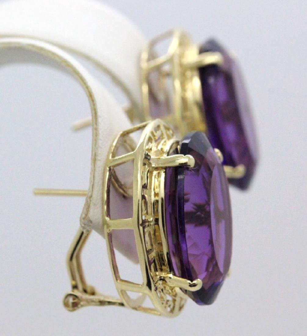 Large 16 Ct TW Deep Purple Amethyst 14k Gold Earrings - 3