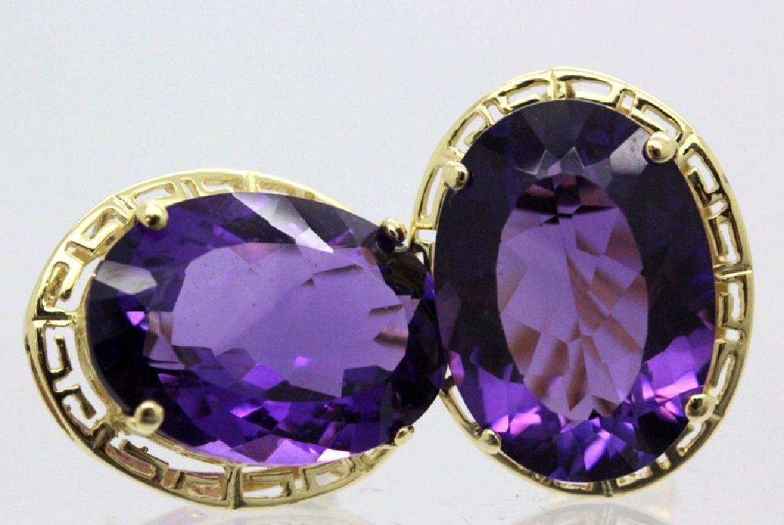 Large 16 Ct TW Deep Purple Amethyst 14k Gold Earrings - 6