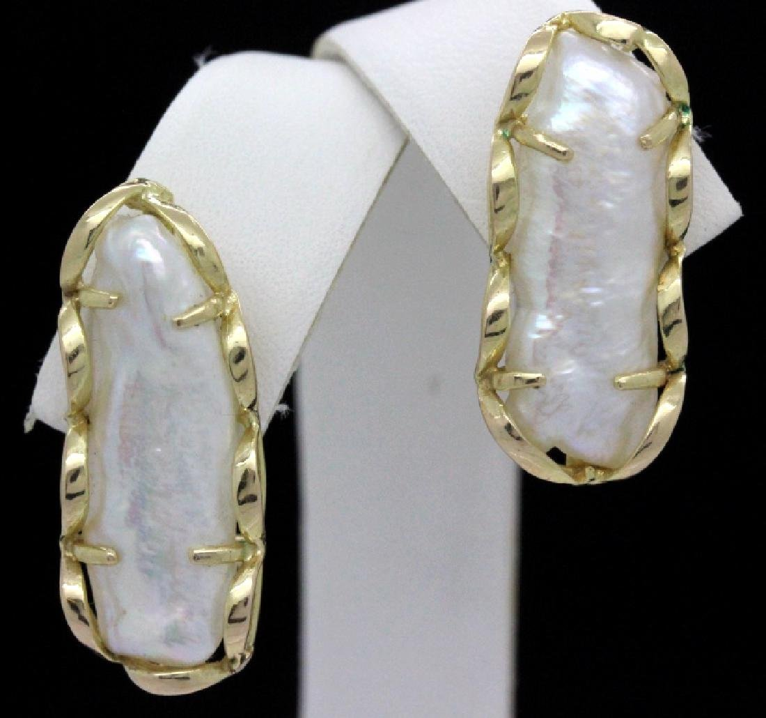 PAIR of 24mm Baroque Pearl 14k Yellow Gold Earrings