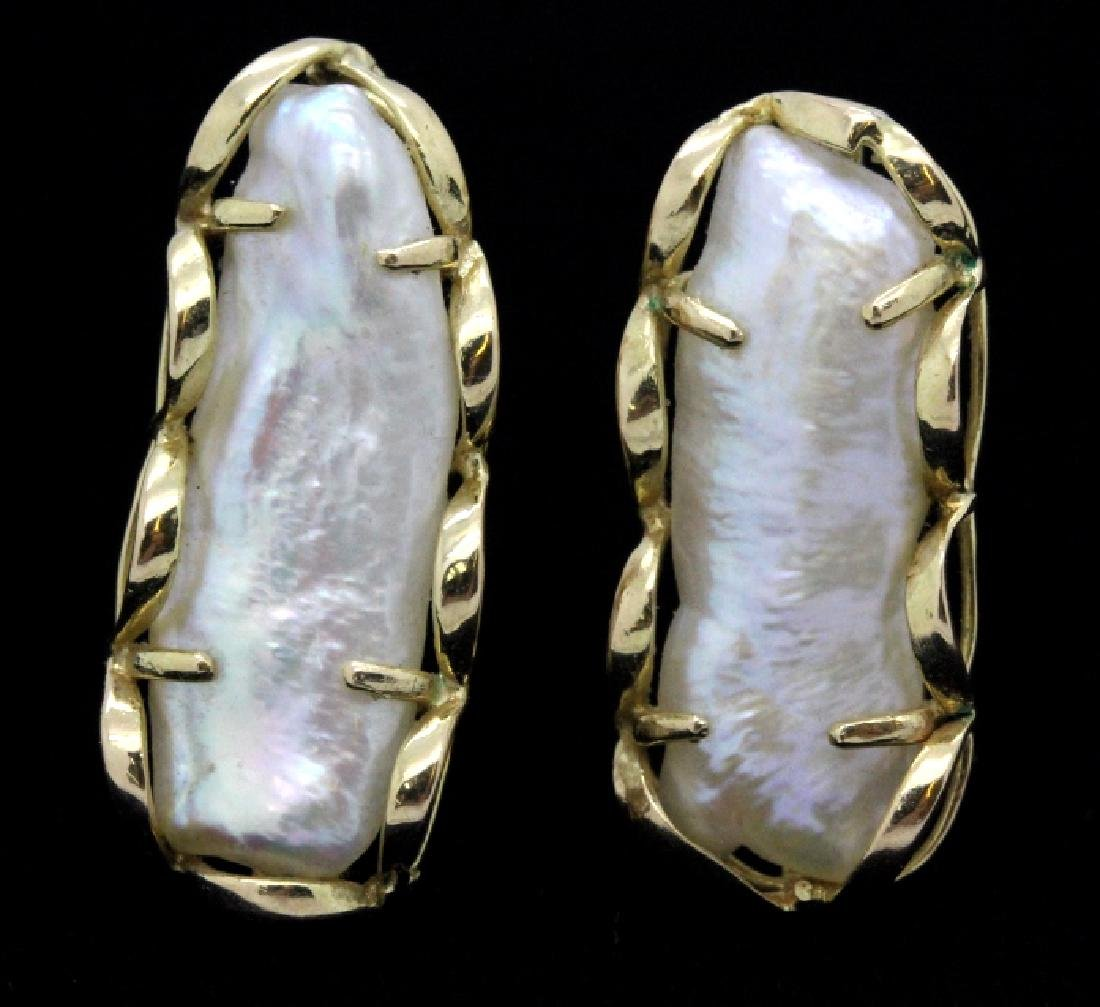 PAIR of 24mm Baroque Pearl 14k Yellow Gold Earrings - 3