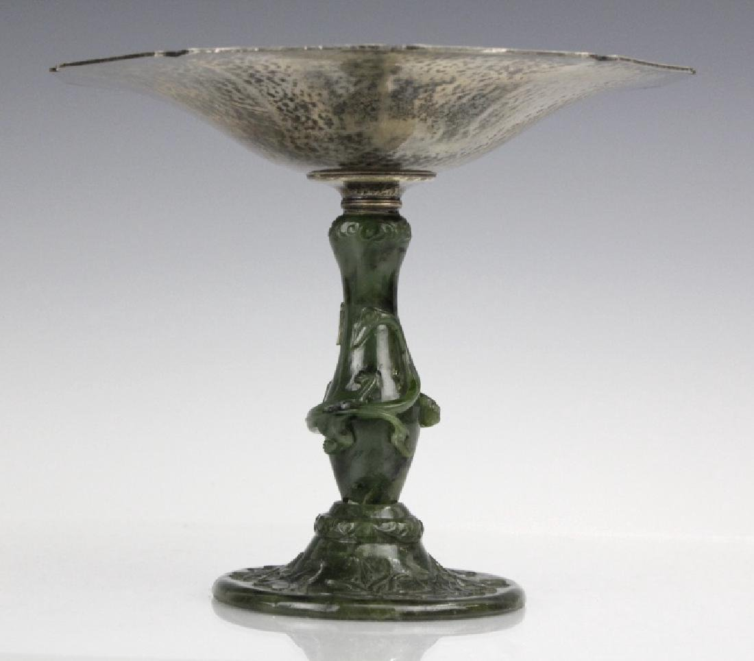 Yamanaka Sterling Silver Compote w Spinach Jade