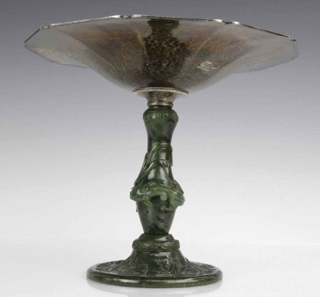 Yamanaka Sterling Silver Compote w Spinach Jade - 5