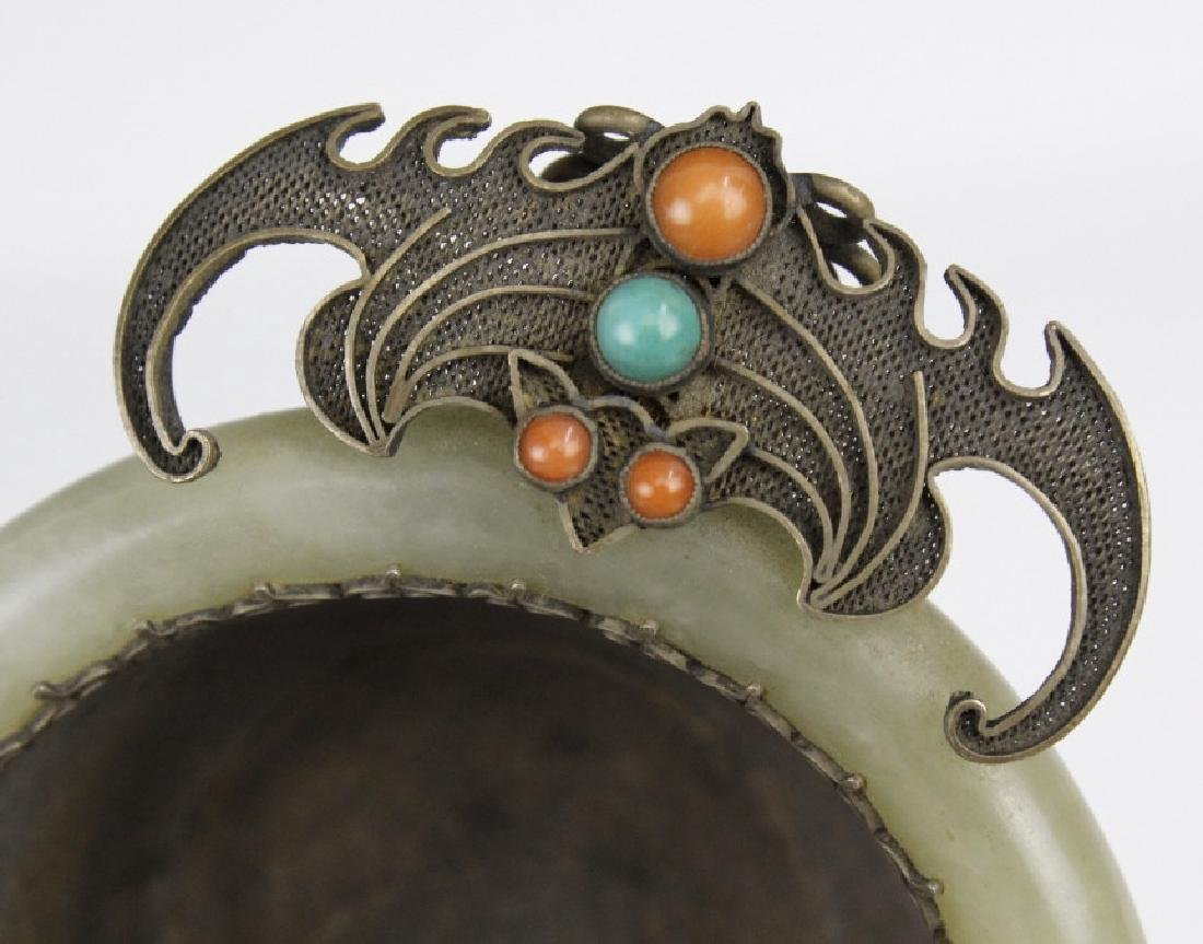 Foo Bat Green Jade Cup Sterling Silver Coral Turquoise - 3