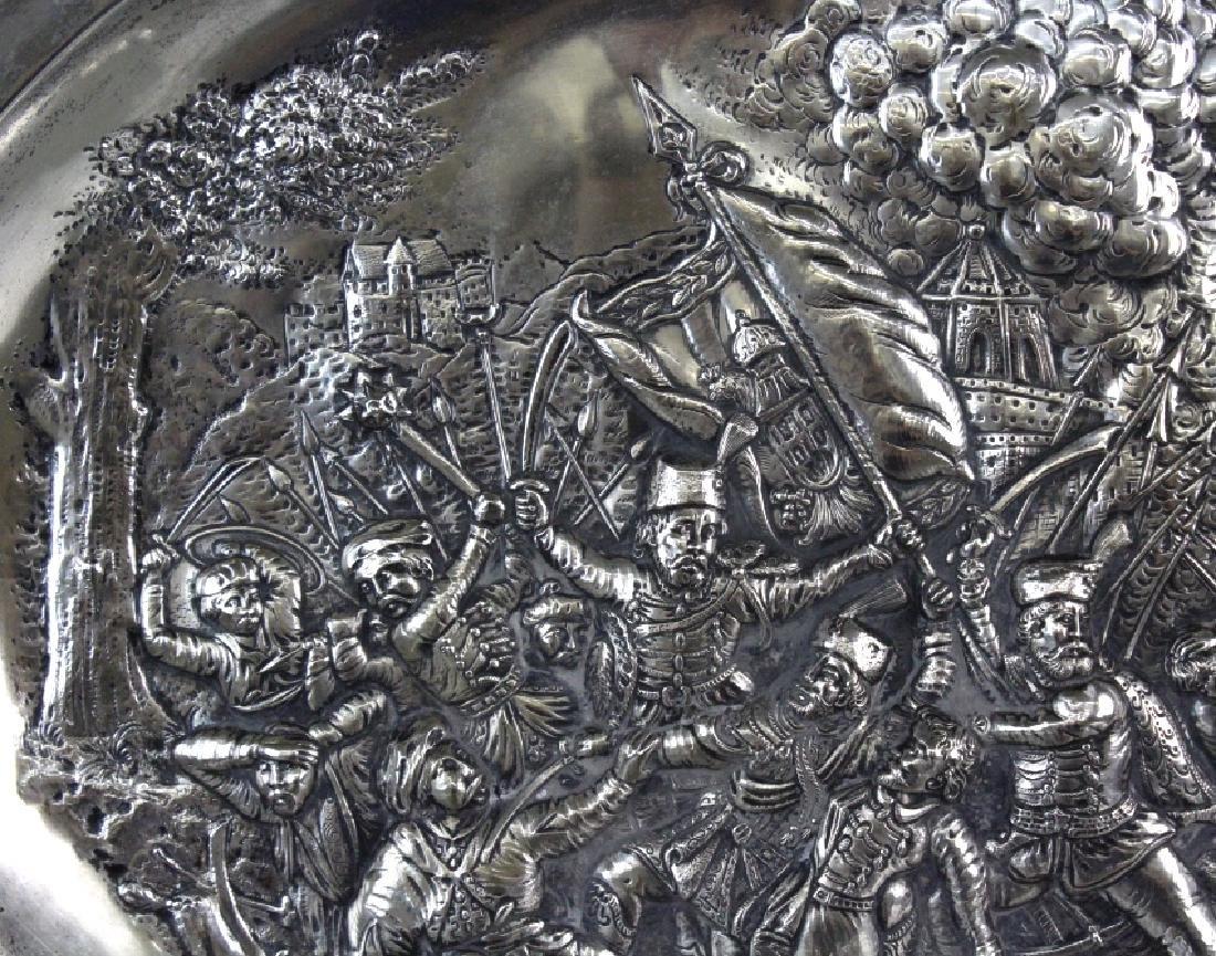 LARGE European 800 Silver Battle Scene Platter 1200g. - 5
