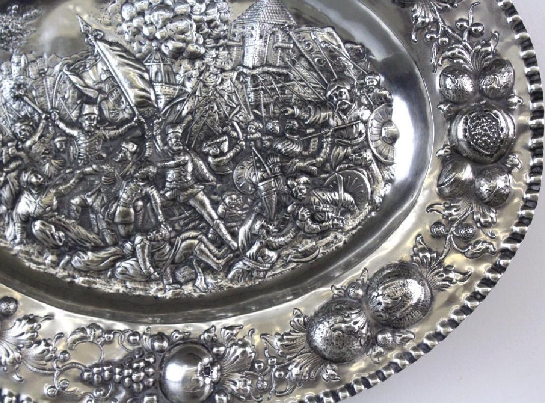 LARGE European 800 Silver Battle Scene Platter 1200g. - 6