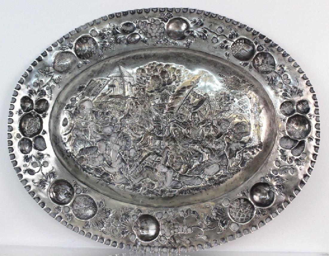 LARGE European 800 Silver Battle Scene Platter 1200g. - 8