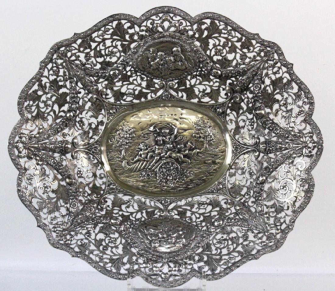 ORNATE Filigree European 800 Silver Repousse Bowl 754g