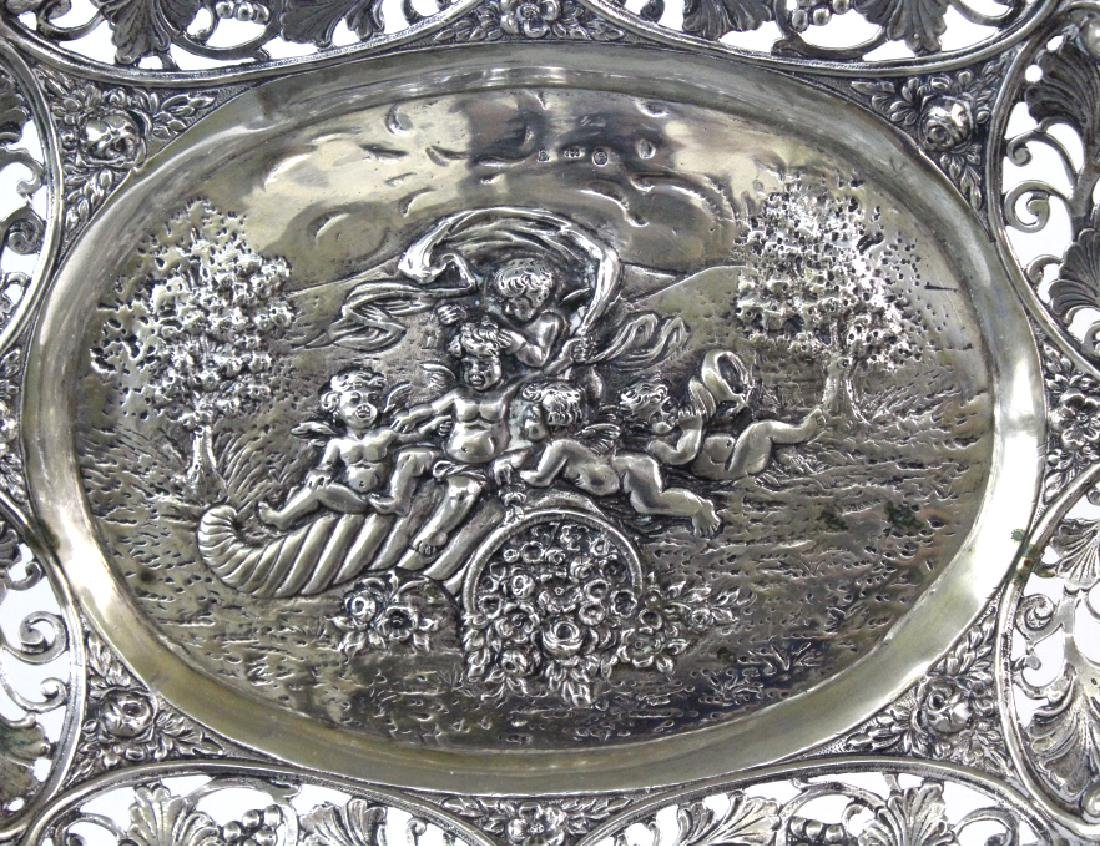 ORNATE Filigree European 800 Silver Repousse Bowl 754g - 2