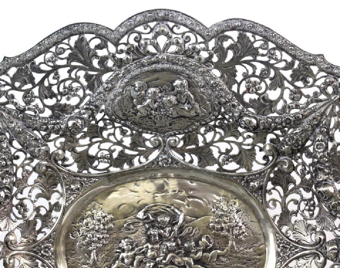 ORNATE Filigree European 800 Silver Repousse Bowl 754g - 3