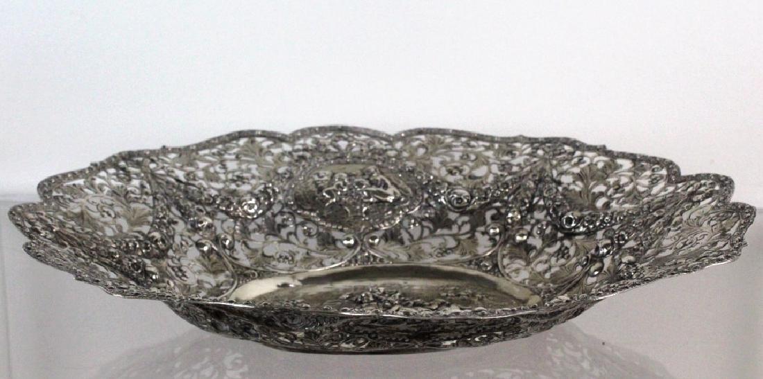 ORNATE Filigree European 800 Silver Repousse Bowl 754g - 5