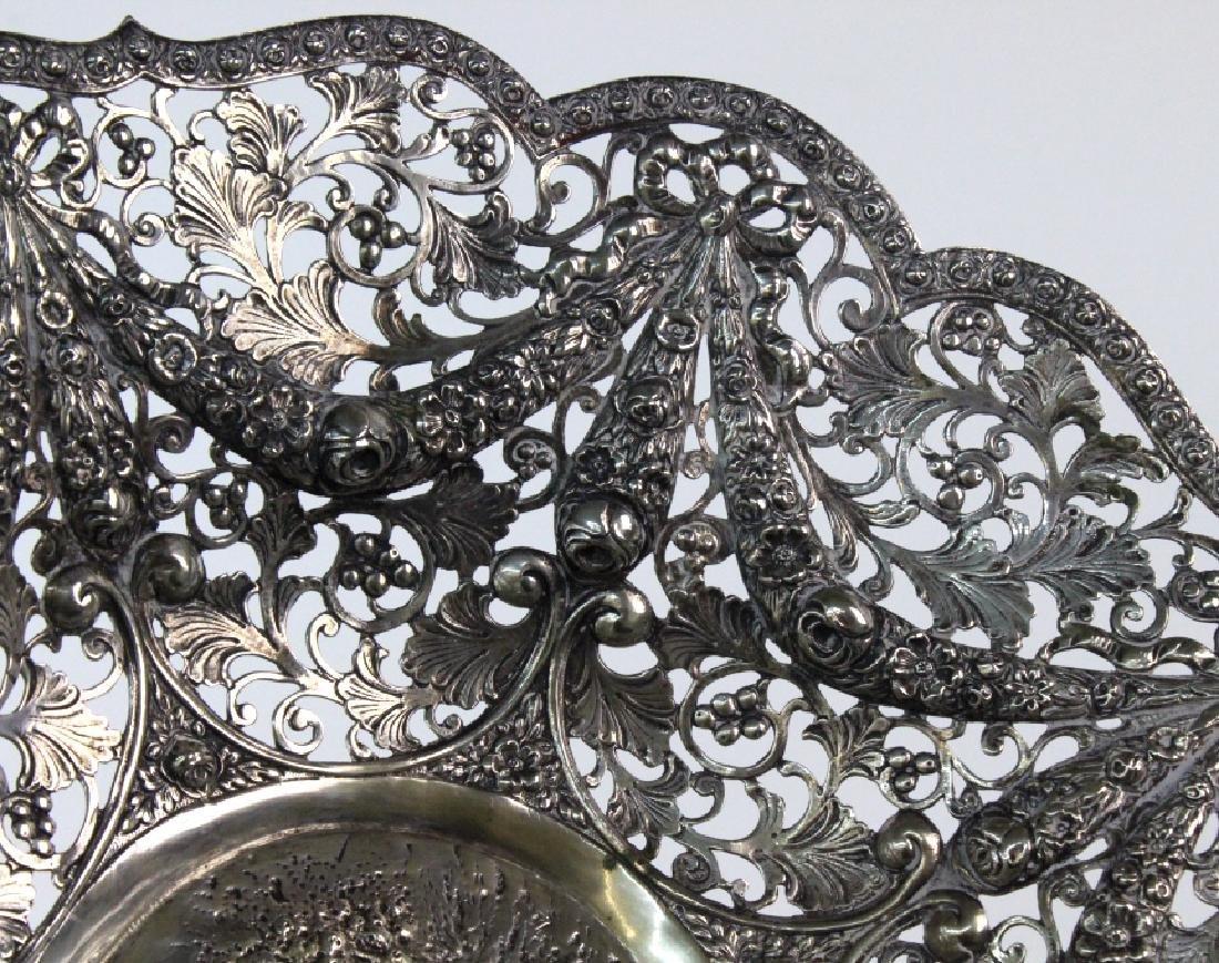ORNATE Filigree European 800 Silver Repousse Bowl 754g - 6