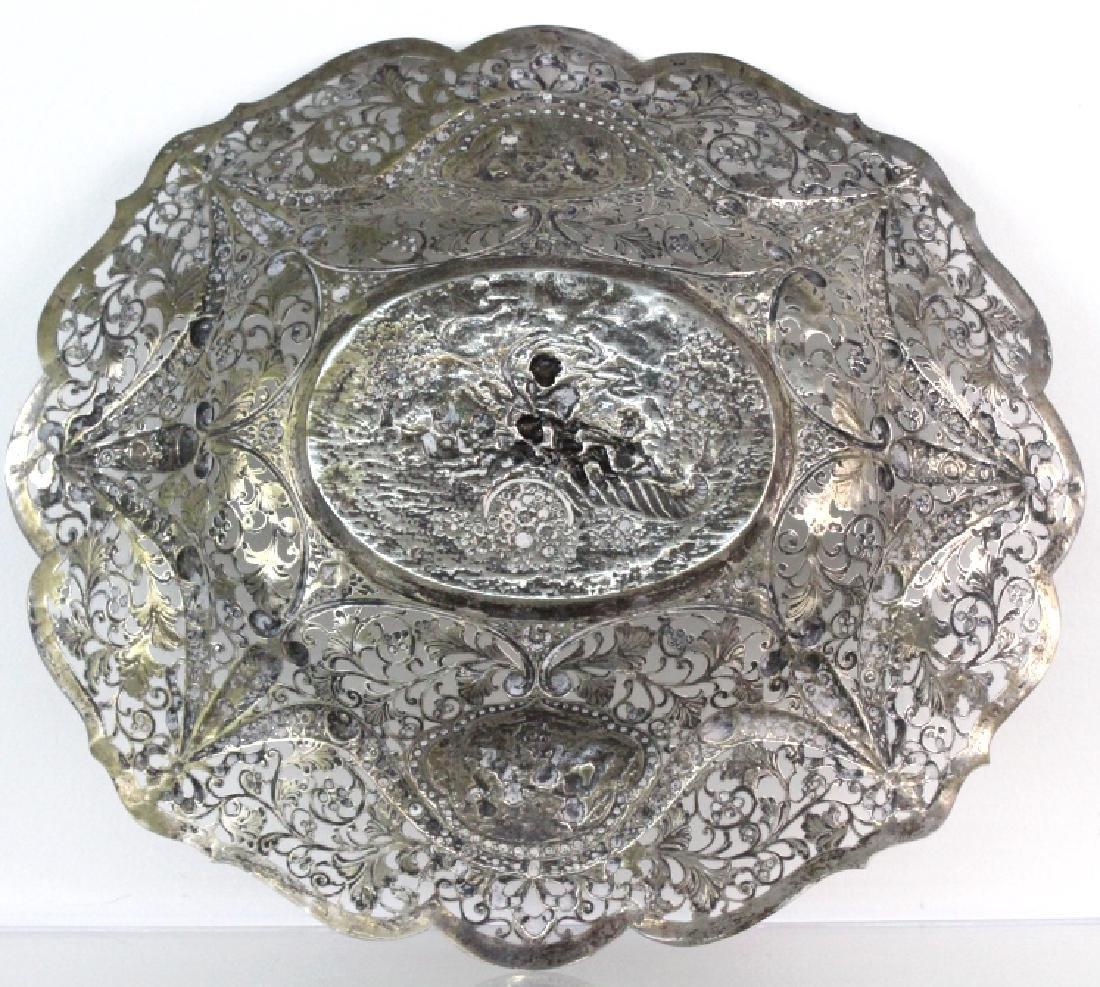 ORNATE Filigree European 800 Silver Repousse Bowl 754g - 9