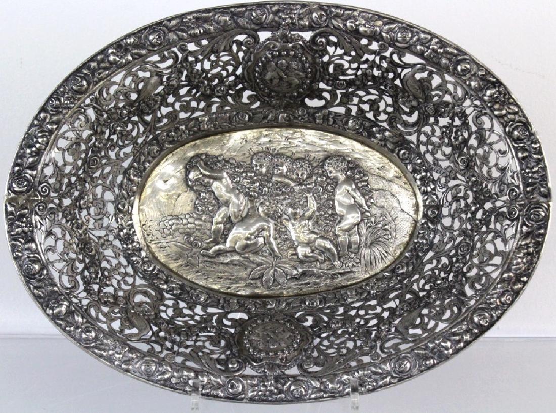 ORNATE Filigree European 800 Silver Repousse Bowl 548g