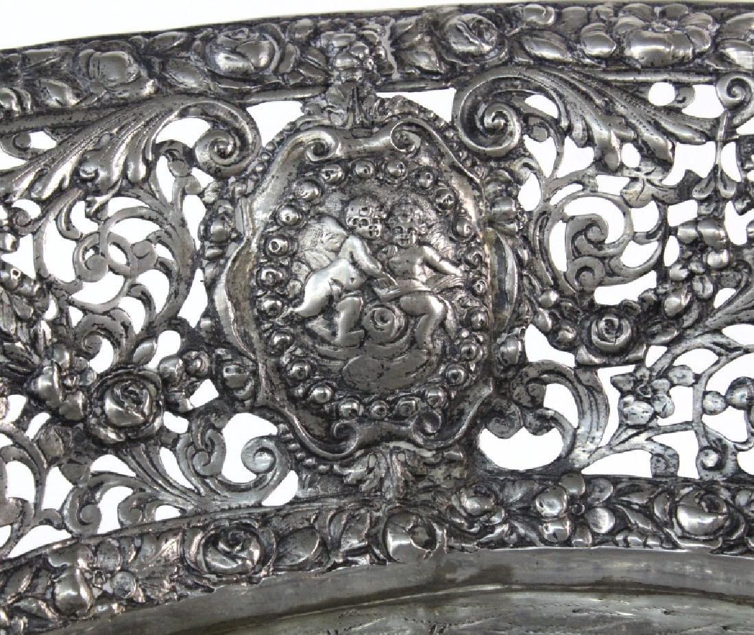 ORNATE Filigree European 800 Silver Repousse Bowl 548g - 3