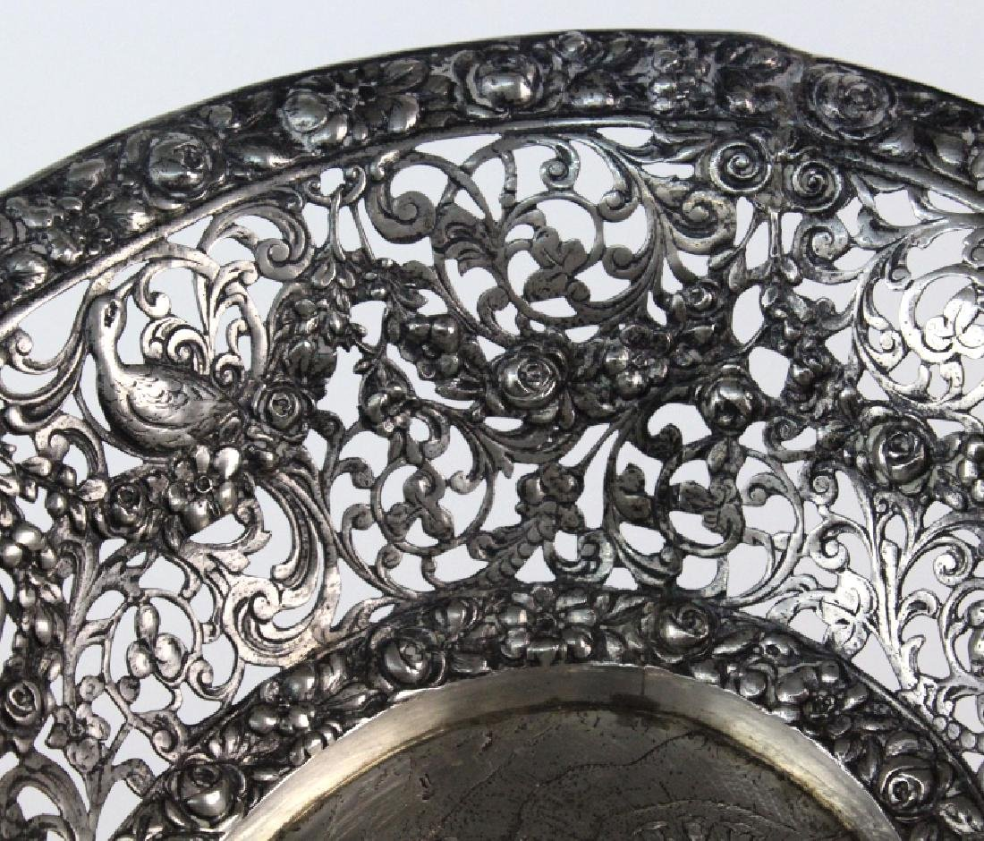 ORNATE Filigree European 800 Silver Repousse Bowl 548g - 4