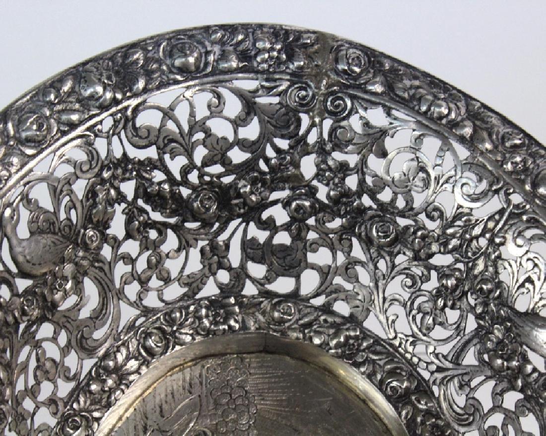 ORNATE Filigree European 800 Silver Repousse Bowl 548g - 6