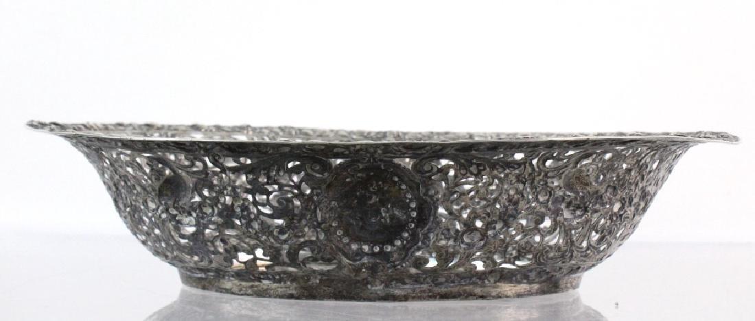 ORNATE Filigree European 800 Silver Repousse Bowl 548g - 9