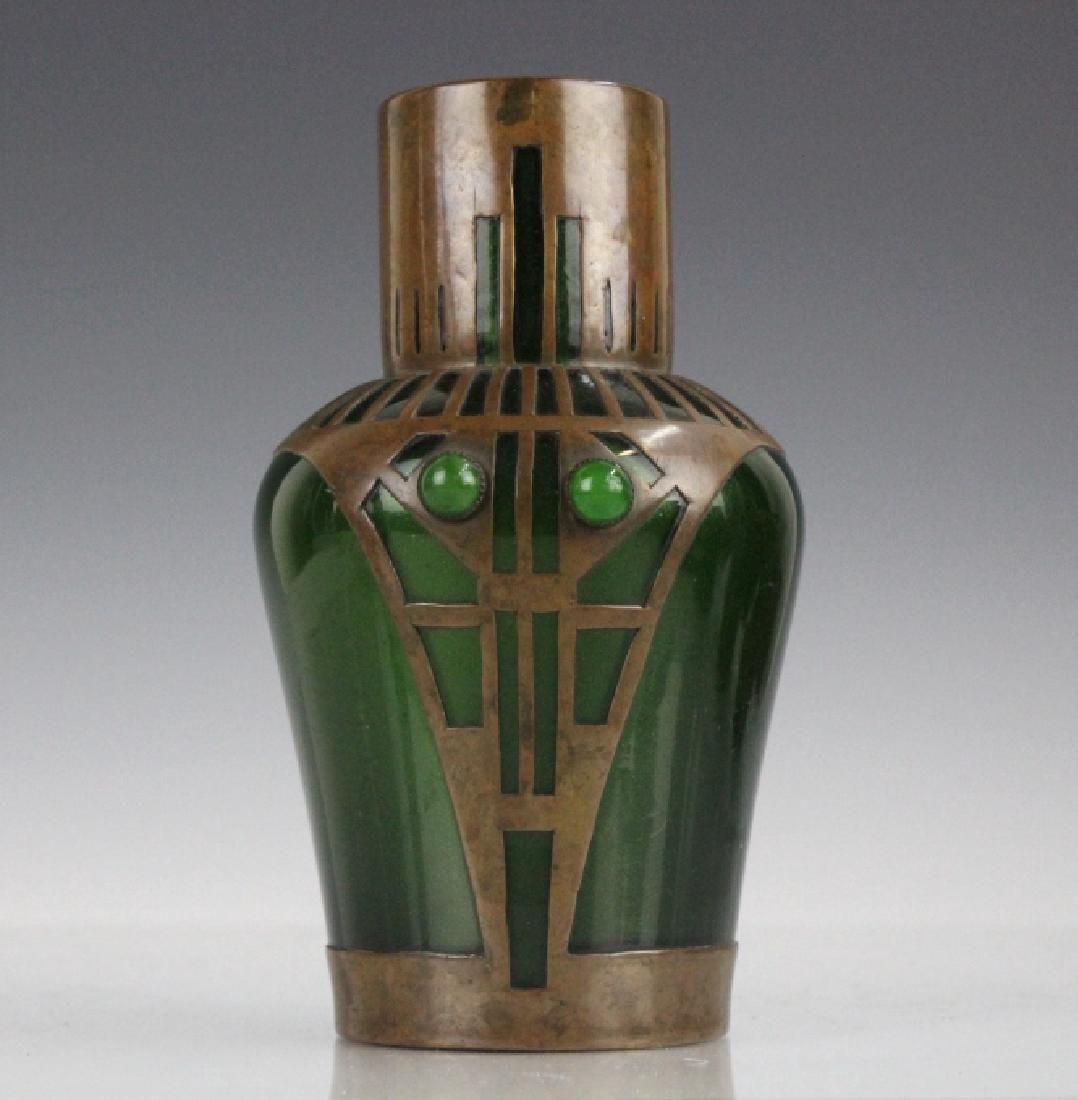 Style of Koloman Moser Art Glass Copper Vase