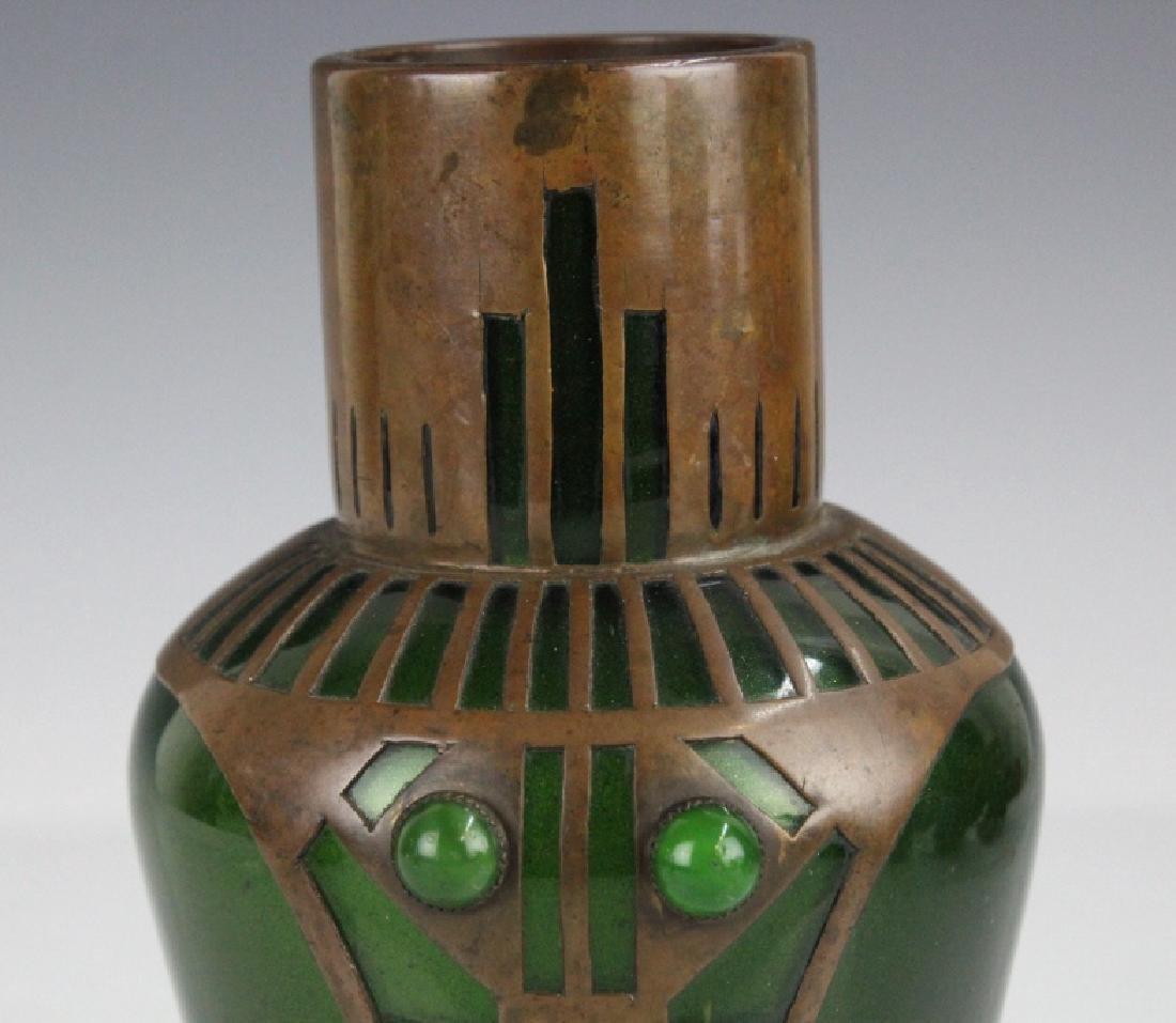 Style of Koloman Moser Art Glass Copper Vase - 2