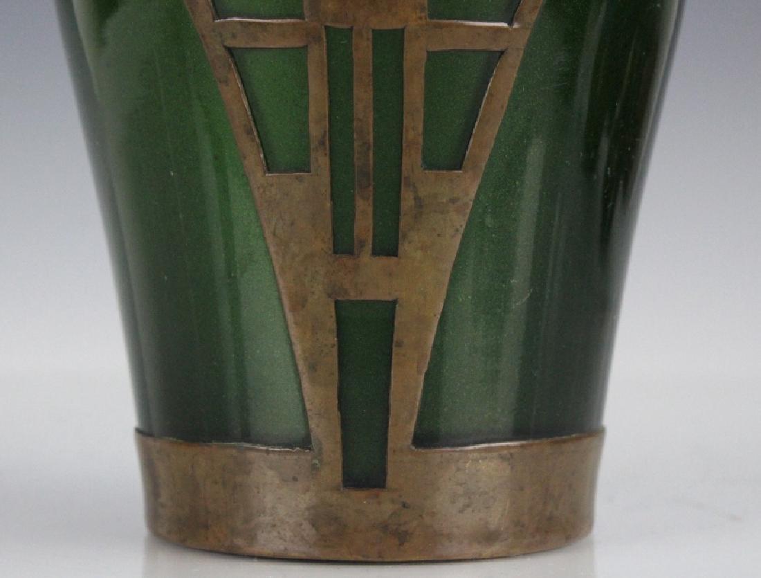 Style of Koloman Moser Art Glass Copper Vase - 3