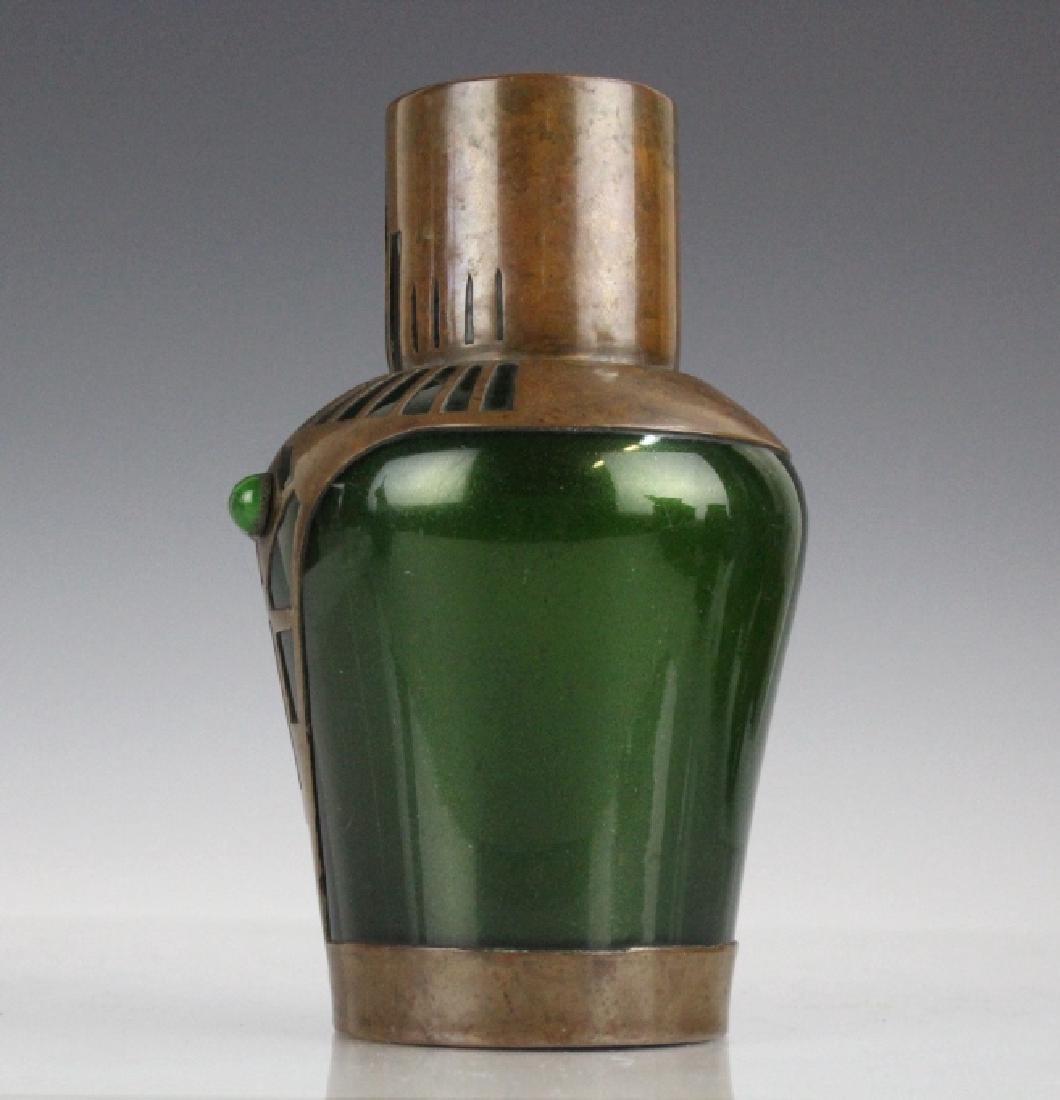 Style of Koloman Moser Art Glass Copper Vase - 4