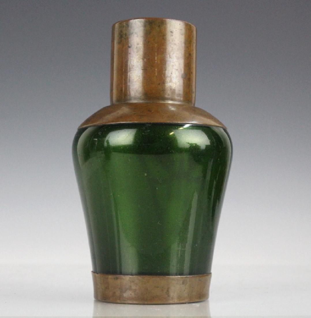 Style of Koloman Moser Art Glass Copper Vase - 5