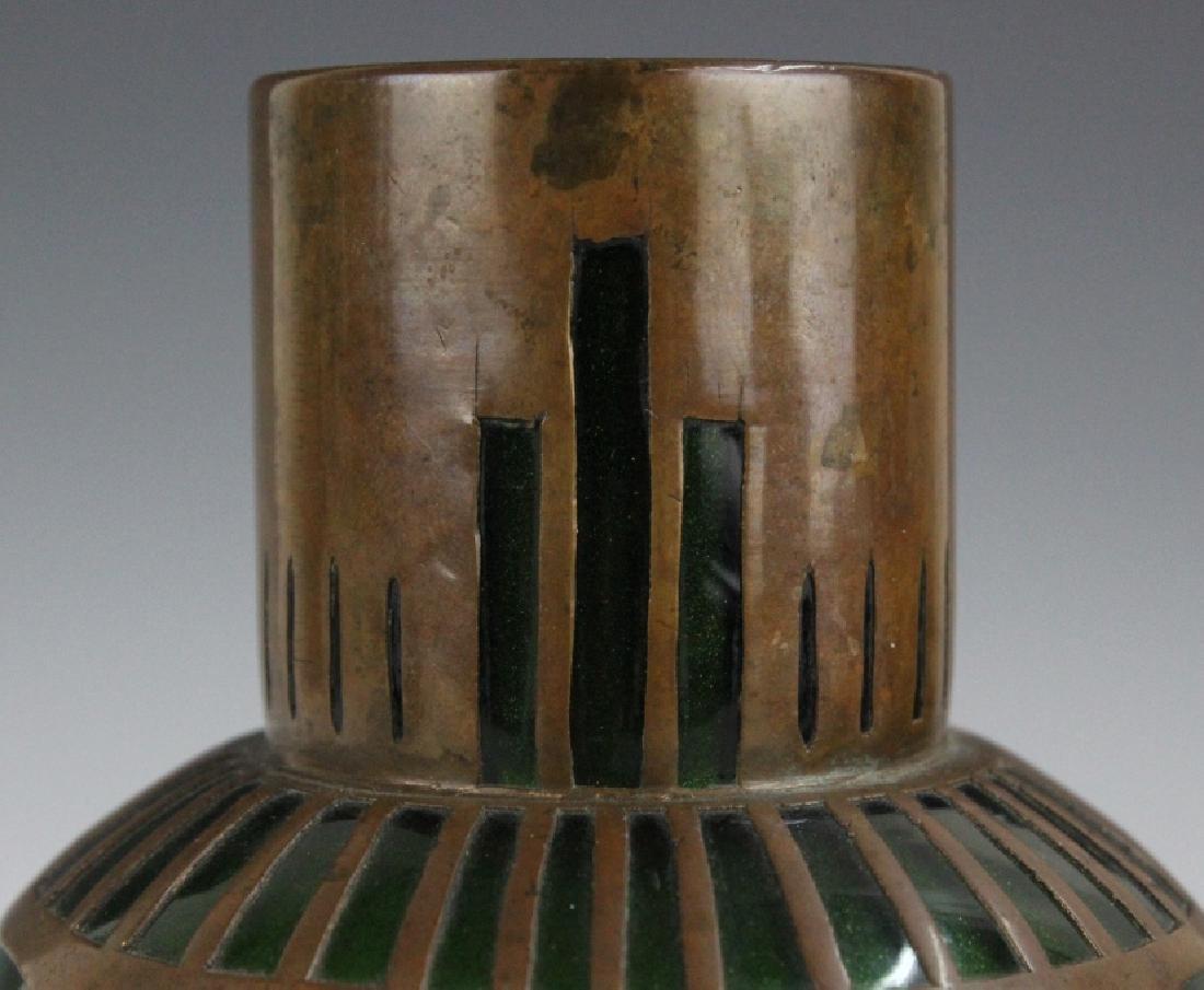 Style of Koloman Moser Art Glass Copper Vase - 8