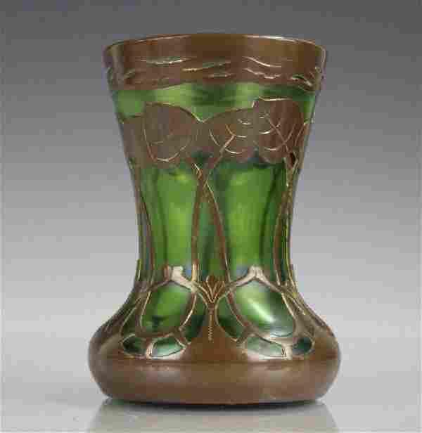 Bohemian Metal Mounted Art Nouveau Glass Vase