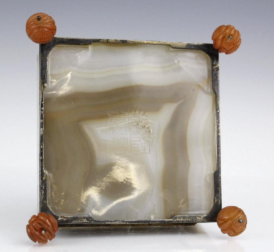 Edward Farmer Silver Banded Agate Footed Rooster Box - 7