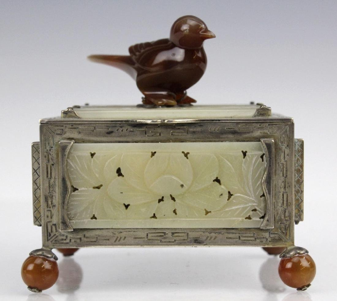 Signed Edward Farmer Sterling Silver Chinese Jade Box