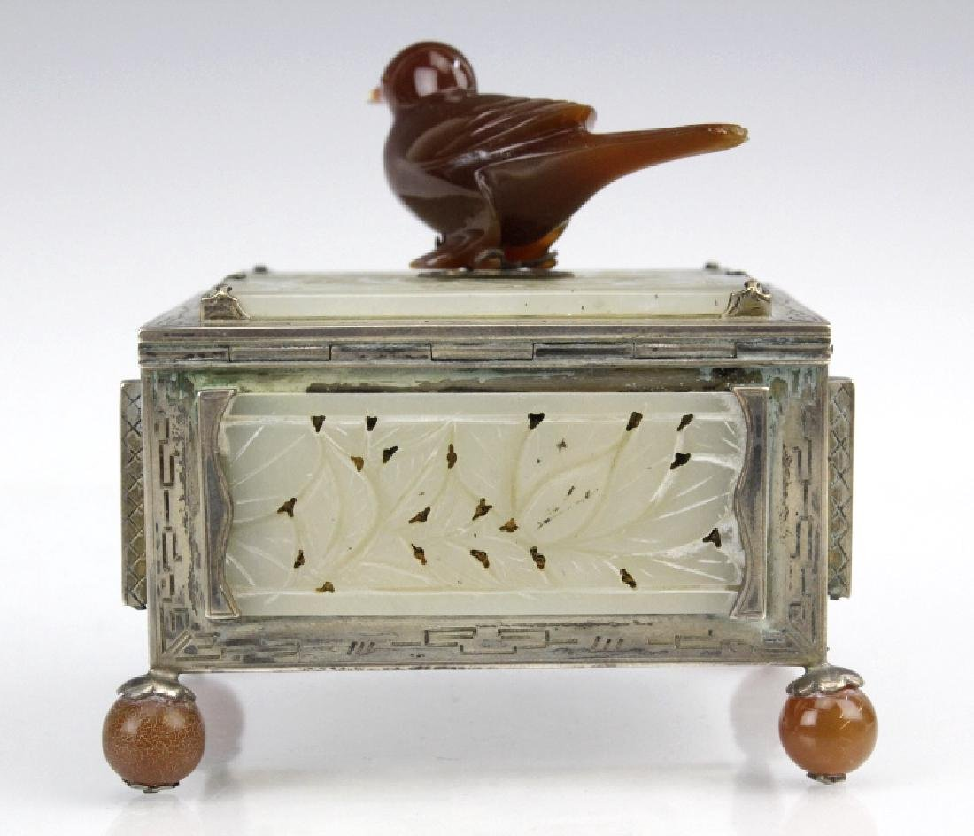 Signed Edward Farmer Sterling Silver Chinese Jade Box - 4