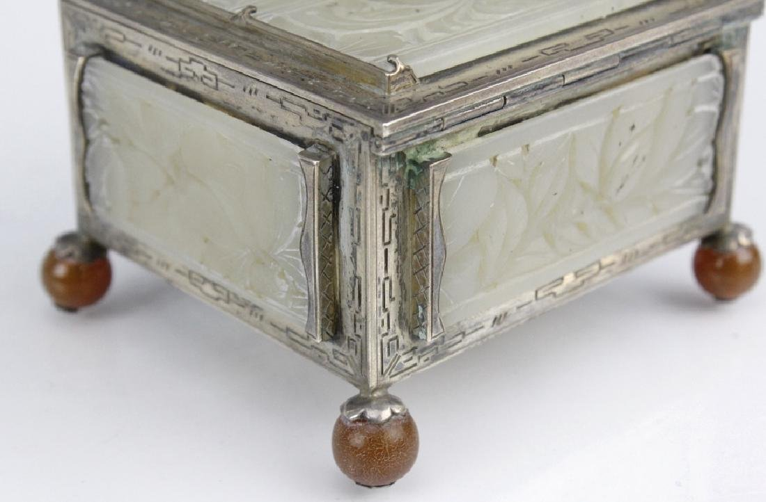 Signed Edward Farmer Sterling Silver Chinese Jade Box - 5