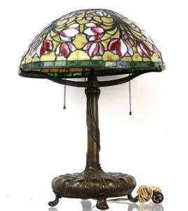 Tiffany Studios Favrile Glass Bronze Crocus Table Lamp