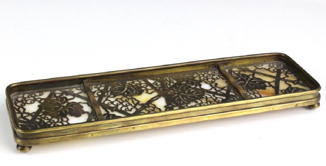 Signed Tiffany Studios Grapevine Art Glass Pen Tray