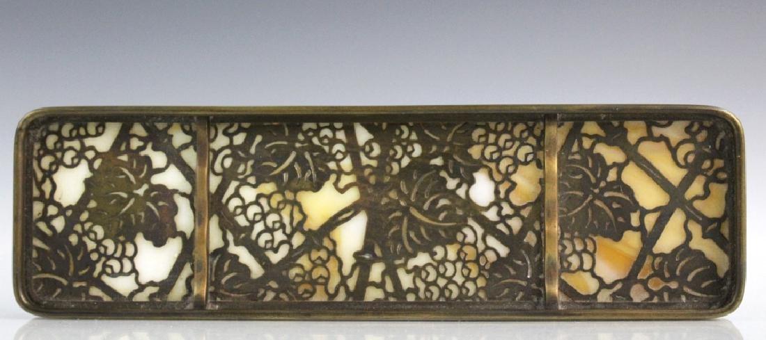Signed Tiffany Studios Grapevine Art Glass Pen Tray - 5