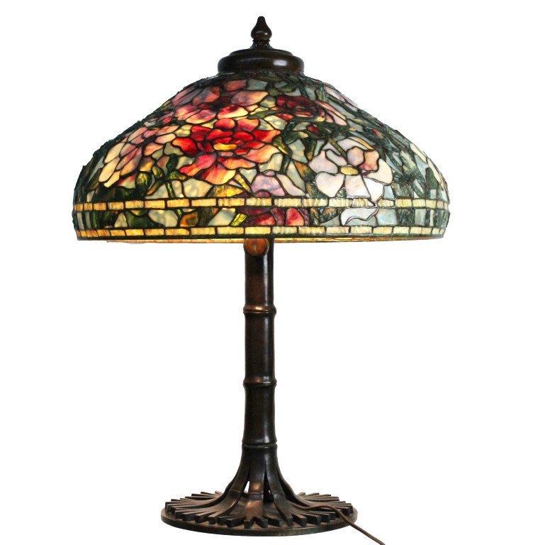 Signed Tiffany Studios Peony Table Lamp W Bamboo Base