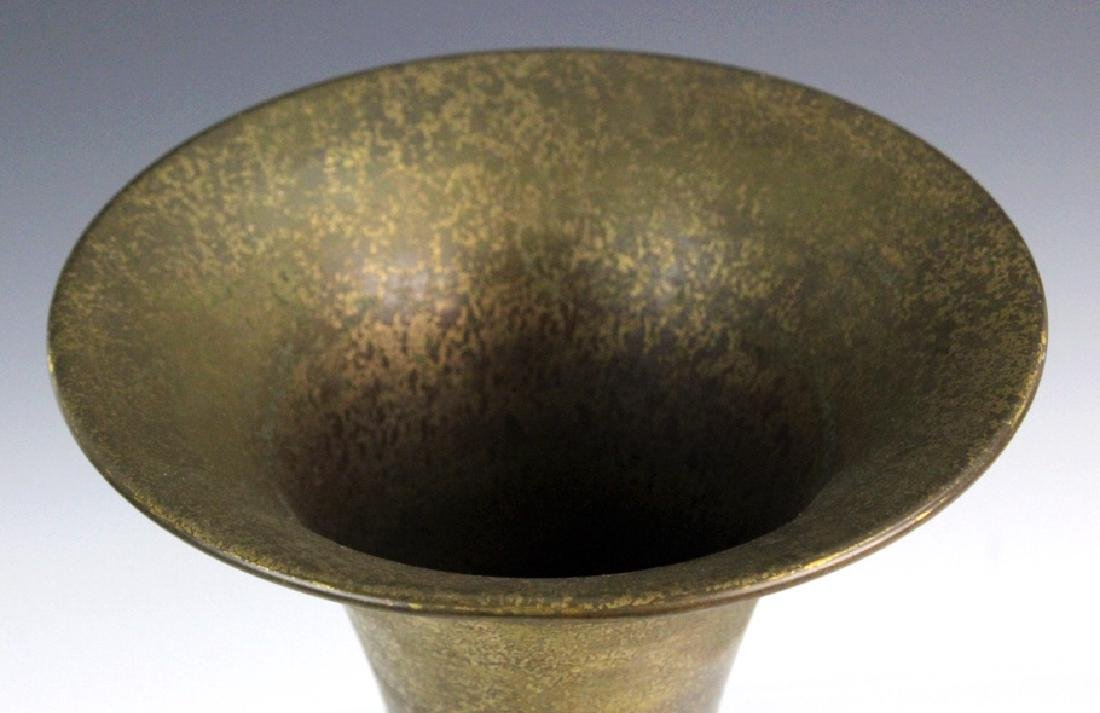 LCT Tiffany Furnaces Brass Green Enamel Trumpet Vase - 2