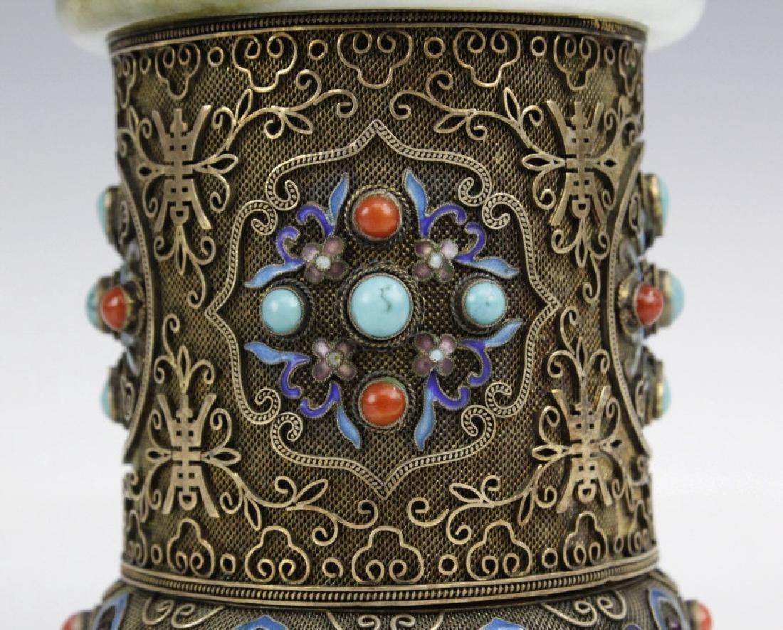 Chinese Silver Enamel White Green Jade Bracelet Jar Box - 2
