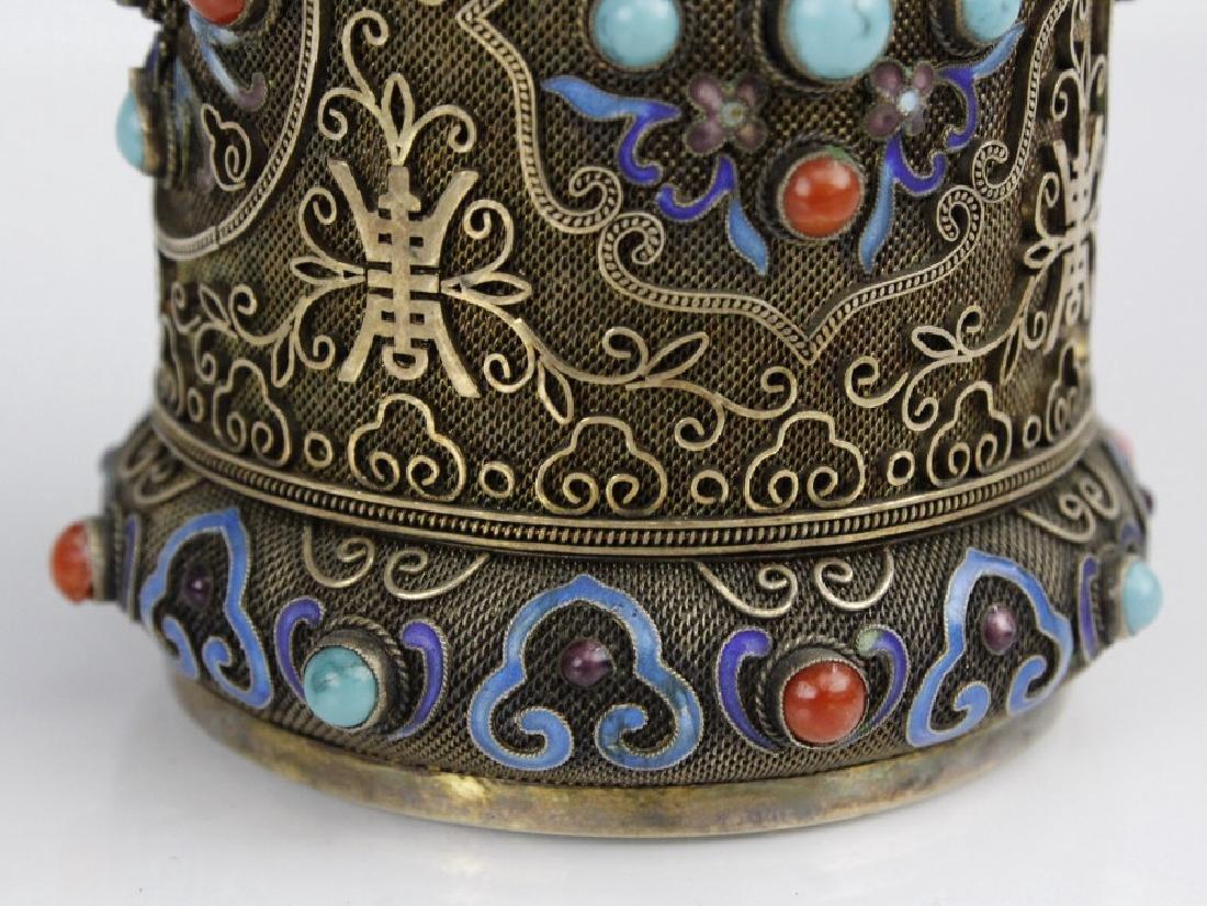 Chinese Silver Enamel White Green Jade Bracelet Jar Box - 3