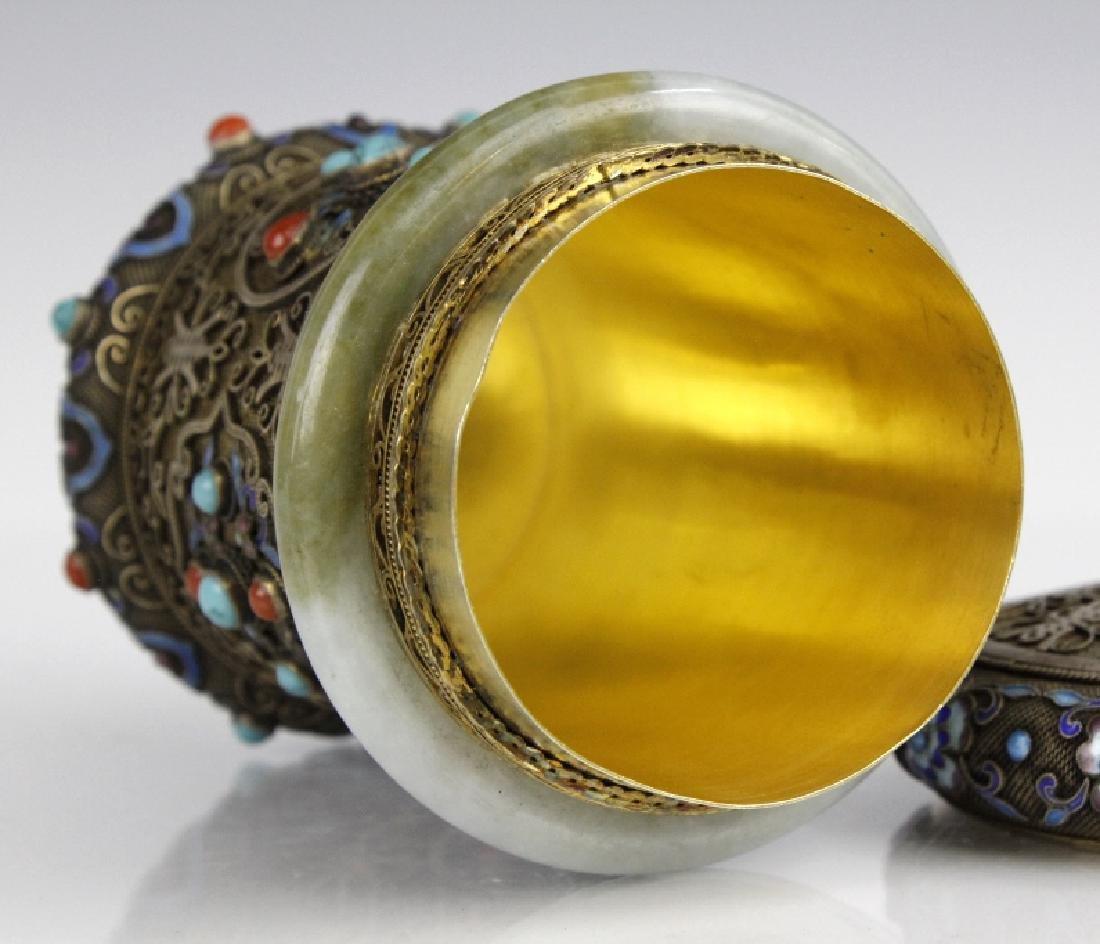 Chinese Silver Enamel White Green Jade Bracelet Jar Box - 6