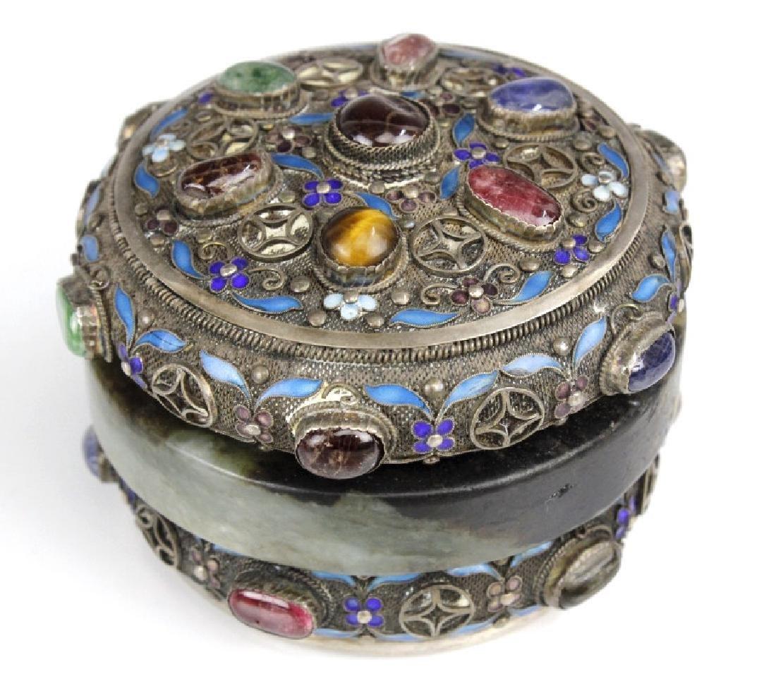 Chinese Silver Jade Enamel Gemstone Bracelet Box