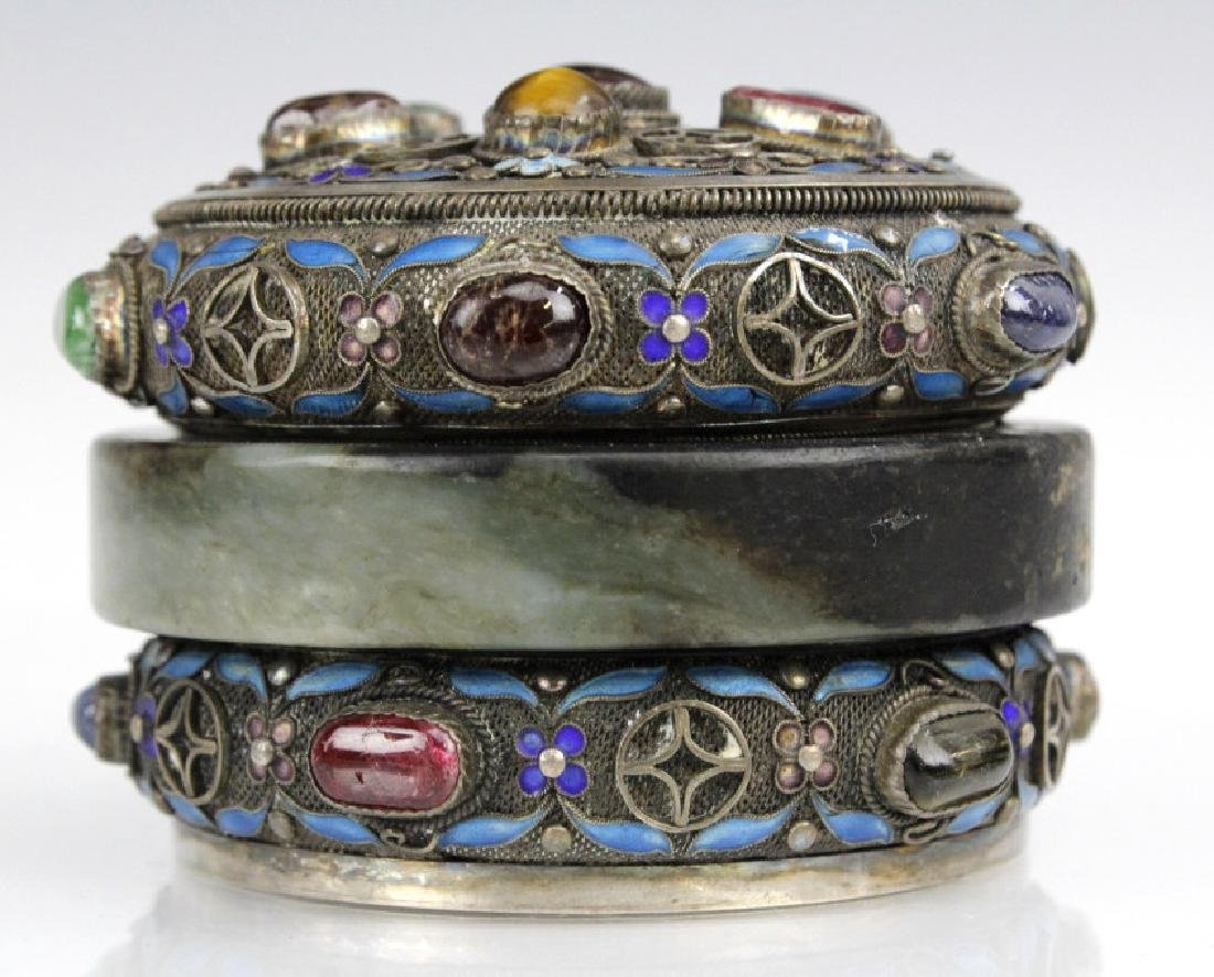 Chinese Silver Jade Enamel Gemstone Bracelet Box - 2