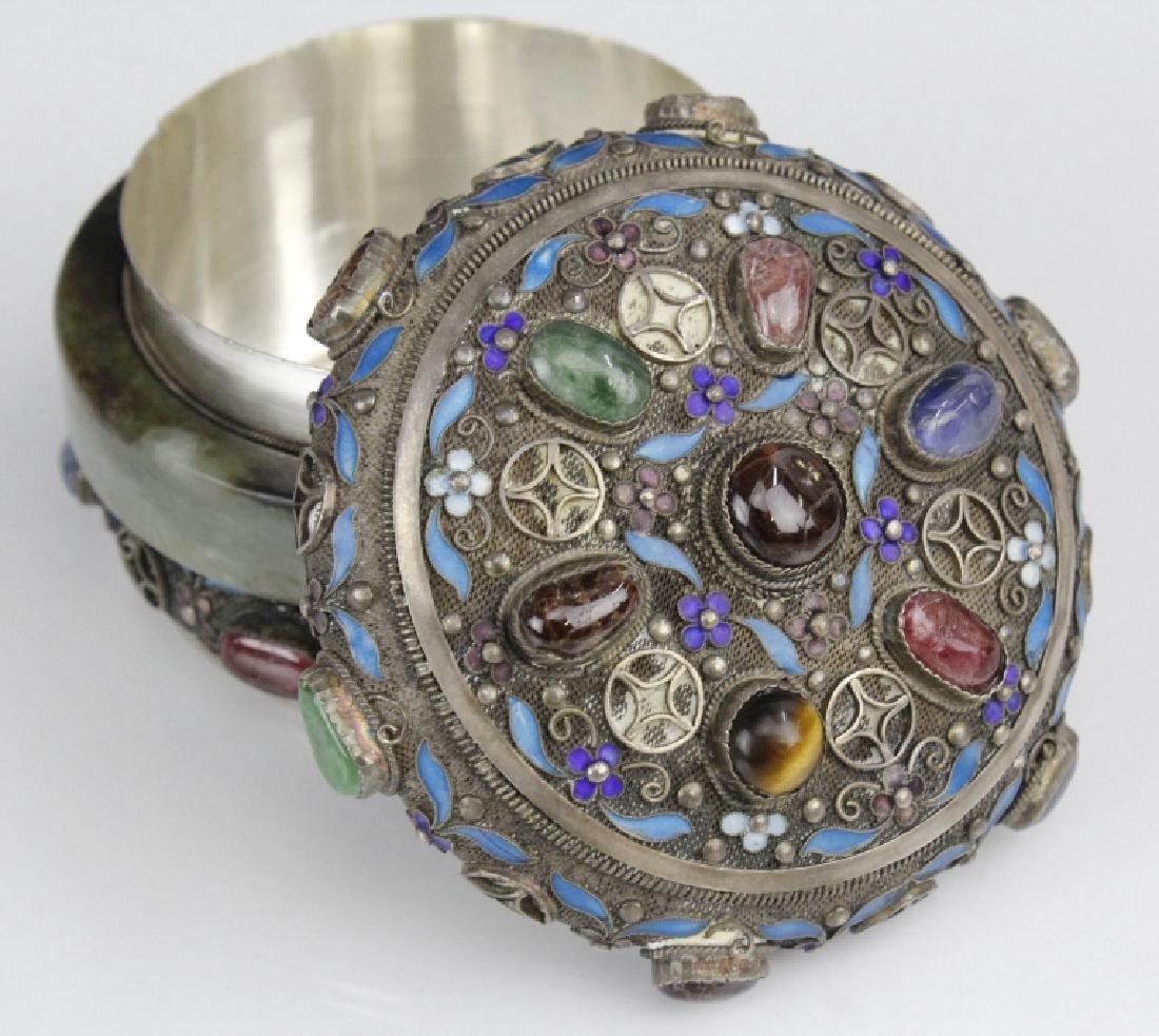 Chinese Silver Jade Enamel Gemstone Bracelet Box - 3