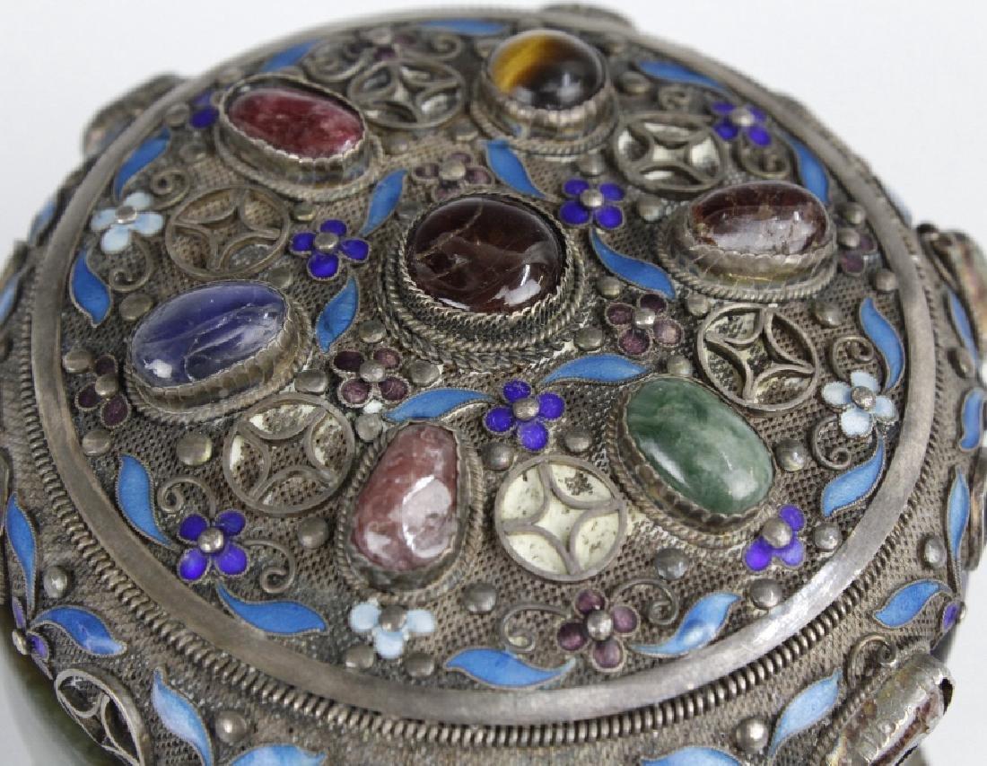 Chinese Silver Jade Enamel Gemstone Bracelet Box - 4