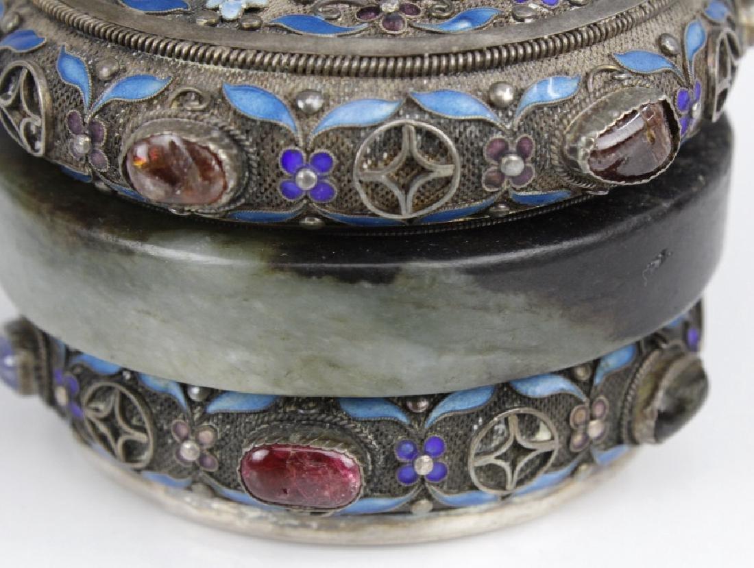 Chinese Silver Jade Enamel Gemstone Bracelet Box - 5