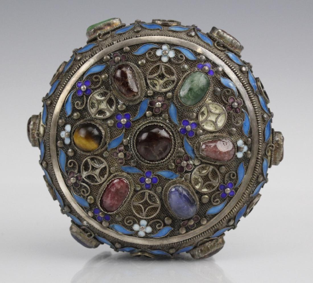 Chinese Silver Jade Enamel Gemstone Bracelet Box - 6